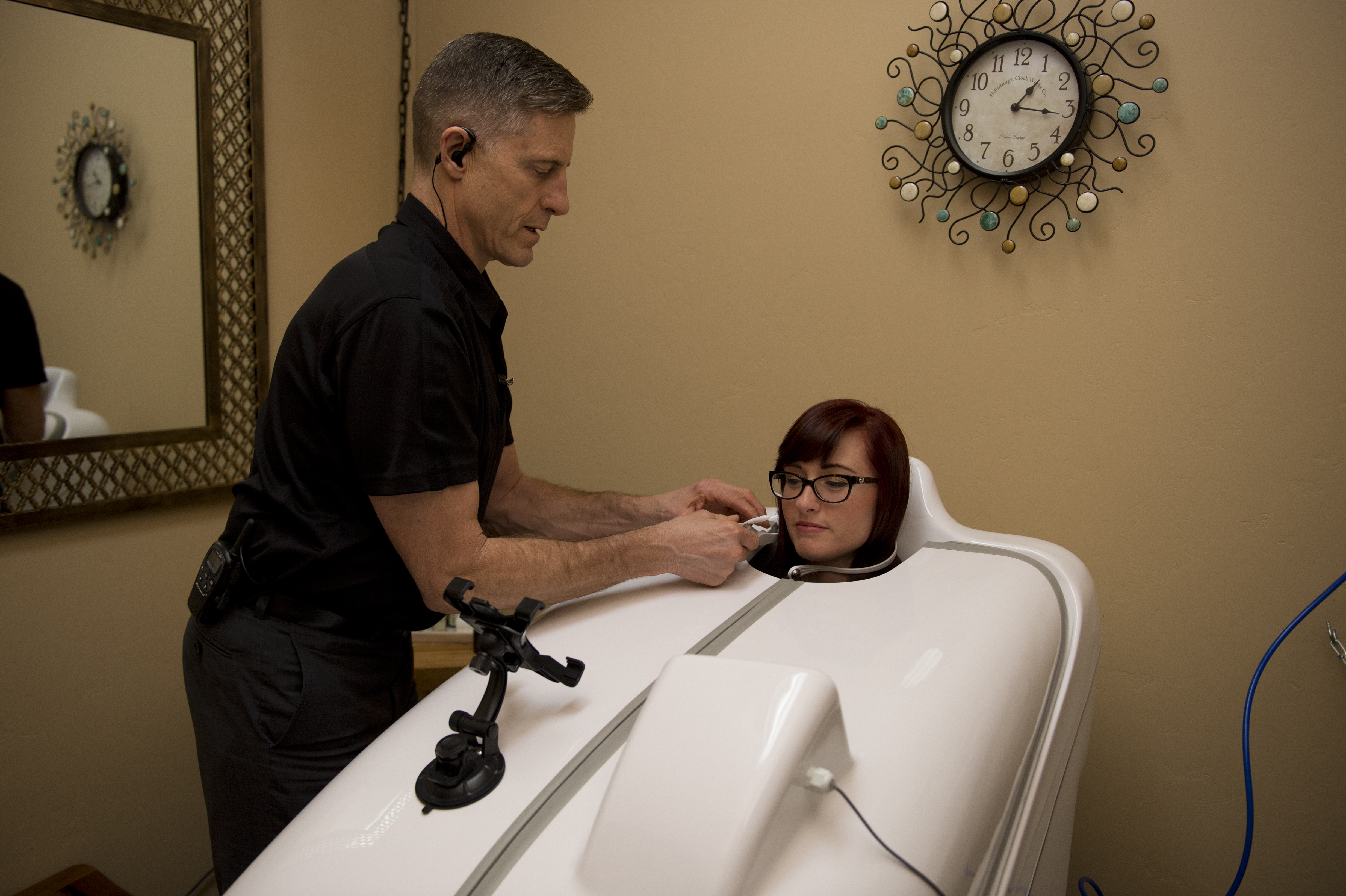 Patient undergoing HOCATT Ozone Sauna Therapy at The Karlfeldt Center in Idaho..